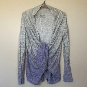 DKNY JEANS Violet|Gray Ombre Wrap Cardigan S EUC